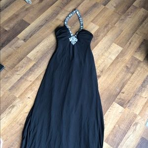 Caché Long Black Dress with Embellishments